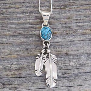 Kingman Turquoise Feather Sterling Silver Necklace